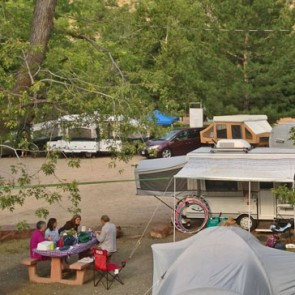 Vehicles at Meadow Park campground in Lyons